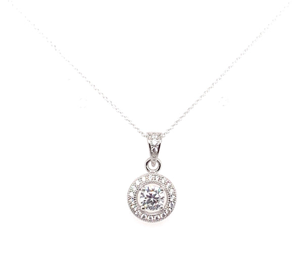 Sterling Silver Cz Halo Pendant Medium