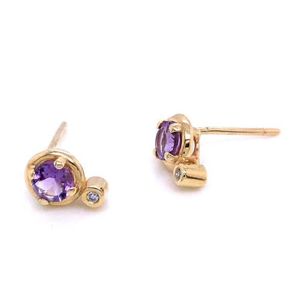 Anma 14ct Gold Purple Amethyst & Diamond Earrings