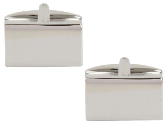 Shiny Plain Rectangle Rhodium Plated Cufflinks 90-1380