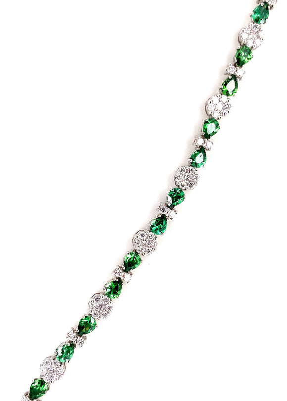 9ct White Cz And Peridot Bracelet
