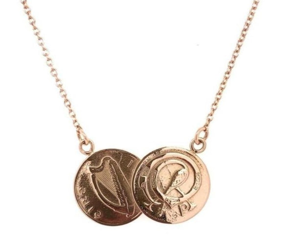 Tadgh Óg Solid 9ct Rose Gold Double Haypenny Irish Coin Pendant