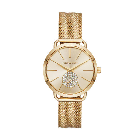 Michael Kors Portia Gold Mesh Strap Ladies Watch MK3844