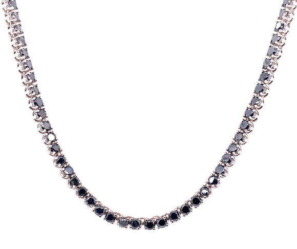 "Sterling Silver Black Cz 18"" Necklace"