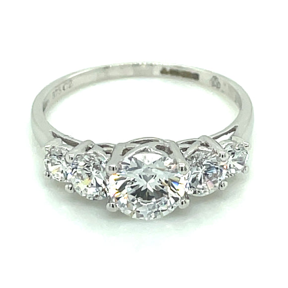 9ct White Gold. Graduated 5. Stone Cz