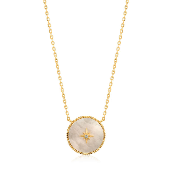 Ania Haie Gold Mother Of Pearl Emblem Necklace N022-02G