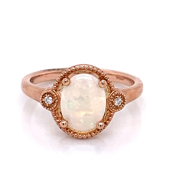 Oval Opal and Diamond set in 9ct Rose Gold