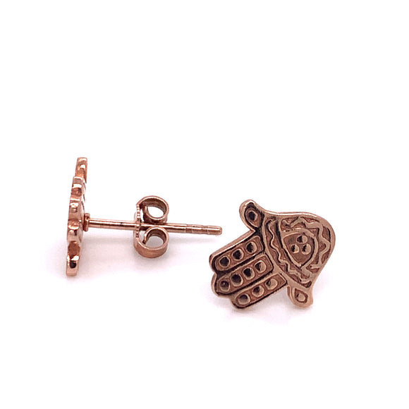 ChloBo Hamsa Hand Earrings Rose Plated Rest61