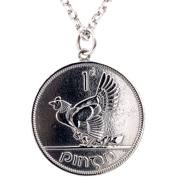 Tadgh Óg Solid Sterling Silver Hen & Chicks 1p Irish Coin Pendant
