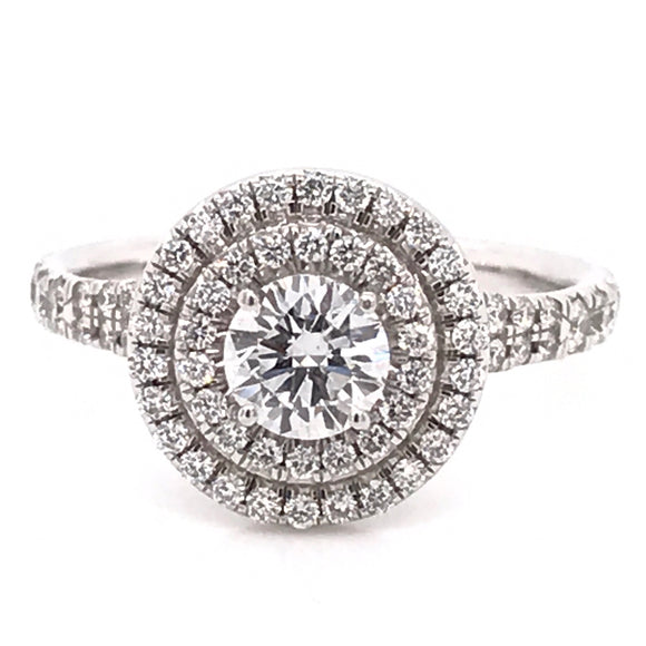 Platinum Round Brilliant Double Halo 1.06ct Diamond Engagement Ring