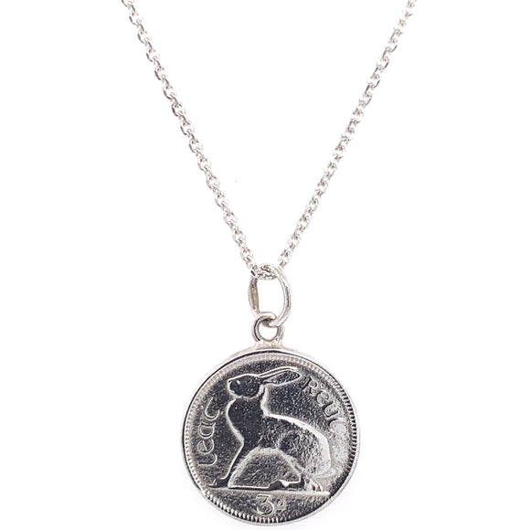 9ct White Gold Hare 3 Pence Irish Coin Pendant