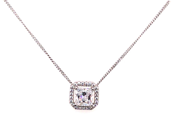 Sterling Silver Princess Cut Cz Halo Necklace