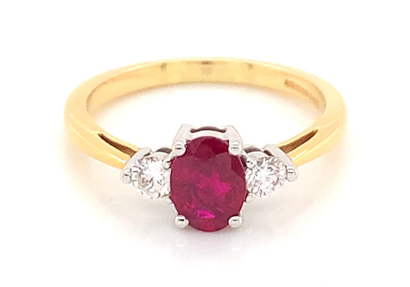 18ct Yellow Gold Three Stone Oval Ruby With Two Side Diamonds
