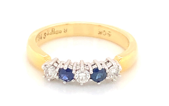 18ct Yellow Gold Sapphire And 0.26ct Diamond Five Stone Ring