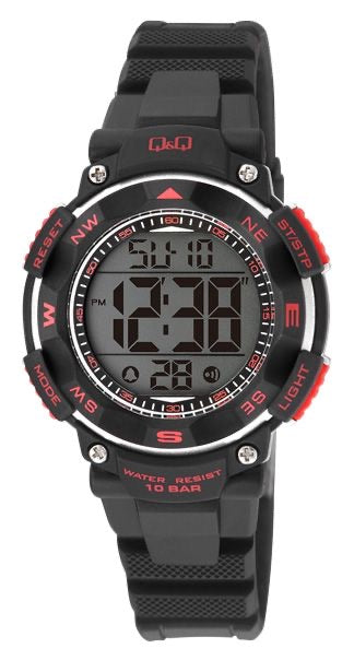 Q & Q Boys Black And Red Digital Watch