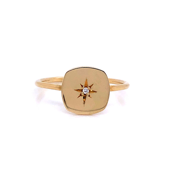 Anma 14ct Gold Square Signet Set With Diamond