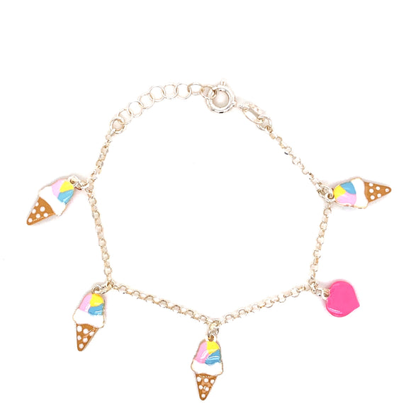 Sterling Silver Ice Cream Heart Bracelet