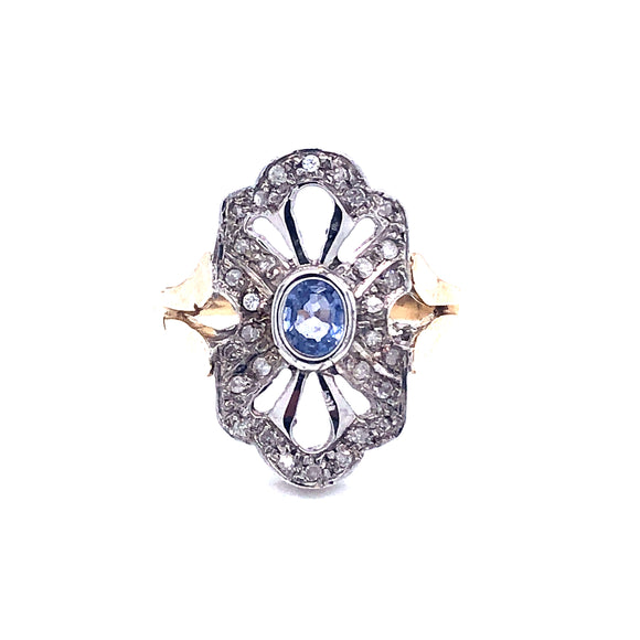 9ct Gold Sapphire & Diamond vintage style ring