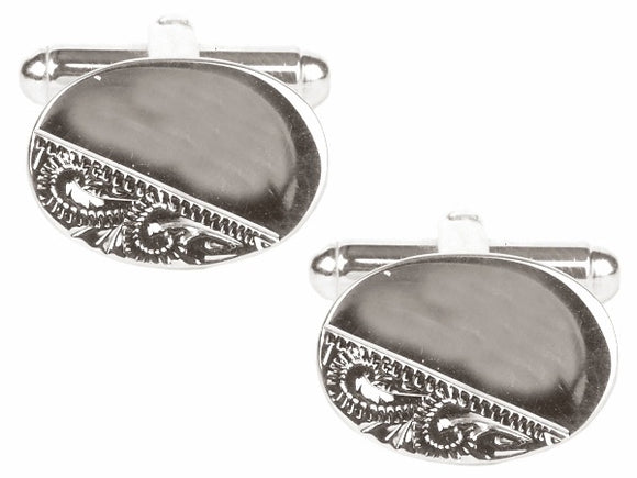 Oval Third Engraved Design Rhodium Cufflinks 90-3013