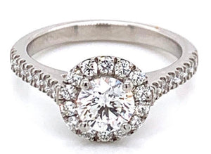 Platinum Round Brilliant Halo 1.27ct Diamond Engagement Ring