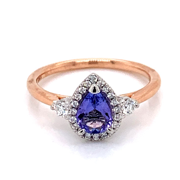 Tanzanite & Diamond Pear Halo 18ct Rose Gold Ring