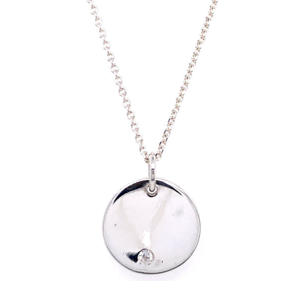 Sterling Silver Disk with Cz