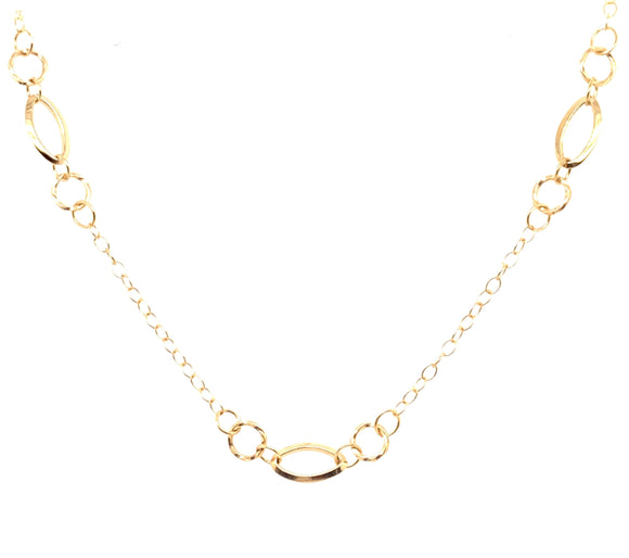 9ct Gold Oval And Round Link Necklace