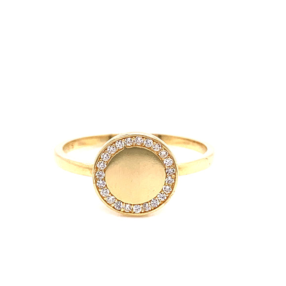 9ct Gold Cz Edge Flat Circle Signet