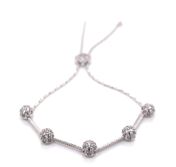 Tipperary Crystal Sulver Cz Ball Toggle Bracelet