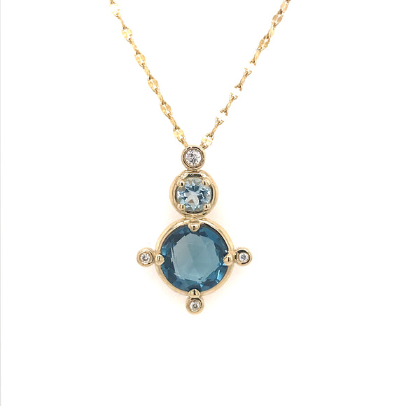 Anma 14ct Gold Blue Topaz & Diamond Necklace