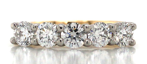 18ct Yellow Gold And Platinum 1.25ct Five Stone Diamond Eternity Ring