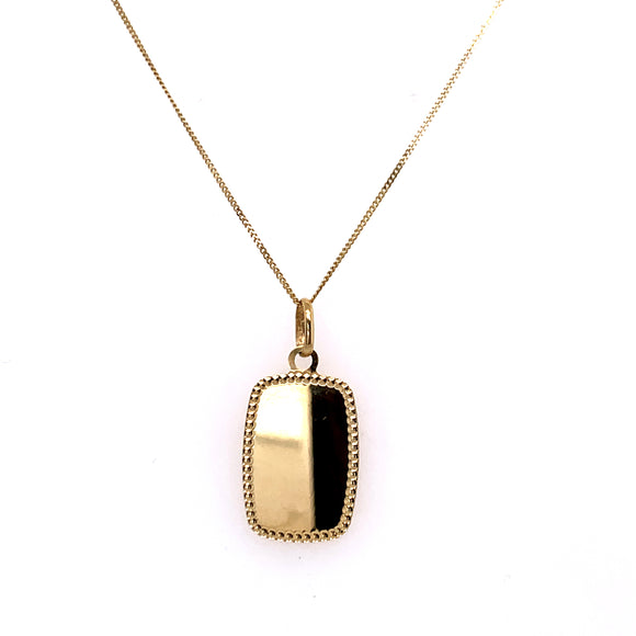Dotted Edge Polished Engravable Tag 9ct Gold