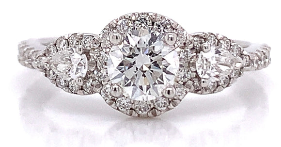 Platinum Three Stone with Pear Side Stones 1.00ct Diamond Engagement Ring