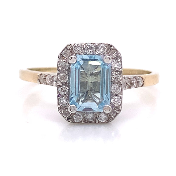 Emerald Cut Topaz and Diamond Halo