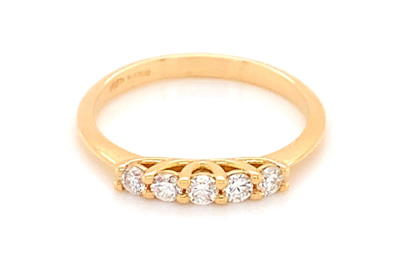 18ct Yellow Gold 0.25ct Five Stone Diamond Eternity Ring