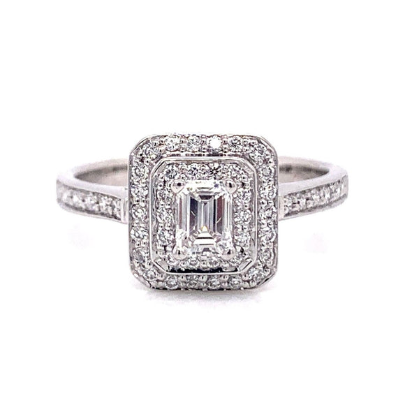 Platinum Emerald Double Pave Set Halo Ring