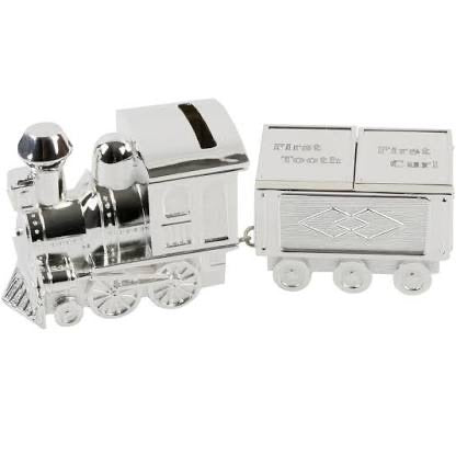 Silver Plated Train Money Box With First Tooth/First Curl Carriage