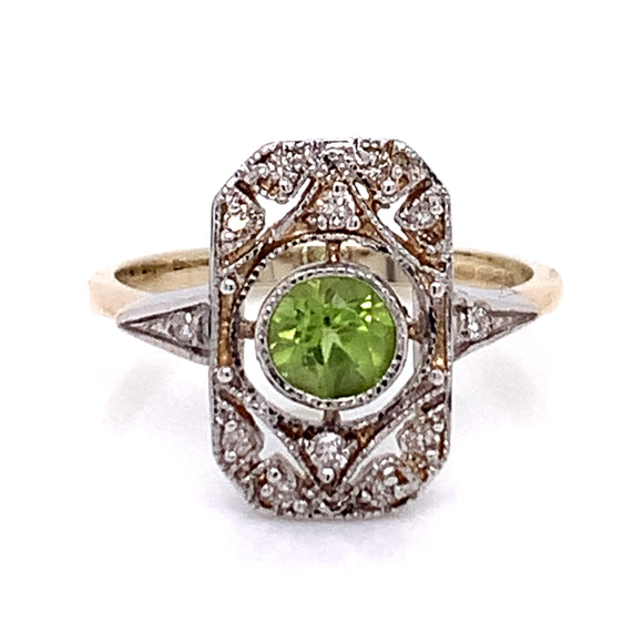 Vintage Style Bezel Set Peridot With Ornate Diamond Surround