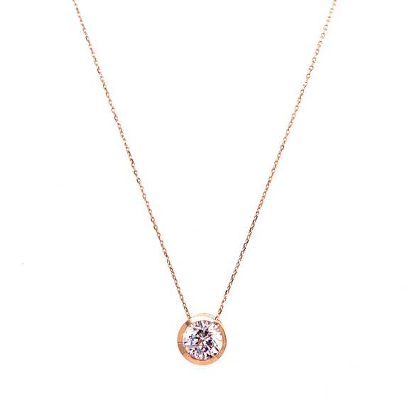 9ct Rose Gold Cz Slider Pendant