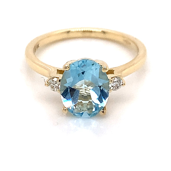 9ct Yellow Gold Sky Blue Topaz And Diamond Ring