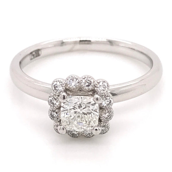 18ct White Gold Cushion Cut with a Diamond Milgrain Halo Diamond Engagement Ring
