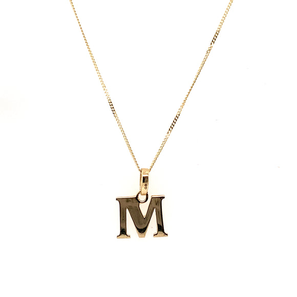 9ct Yellow Gold Plain Initial M Pendant