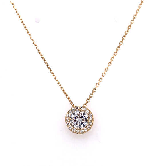 Cz Floating 9ct Gold Halo Necklace