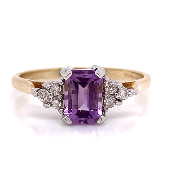 Emerald Cut Amethyst with Diamond Trio 9ct Gold