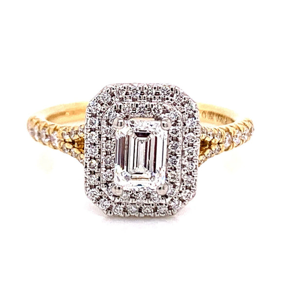 18ct Yellow Gold Castle Set Emerald Cut Double Halo