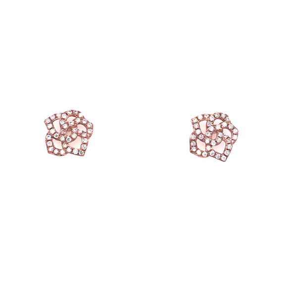 9ct Rose Gold Diamond Flower Earrings