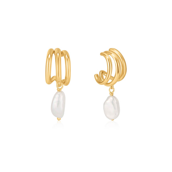 Ania Haie Pearl of Wisdom Triple Mini Hoop Earrings