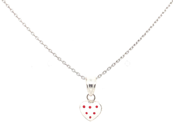 Sterling Silver White And Red Heart Pendant