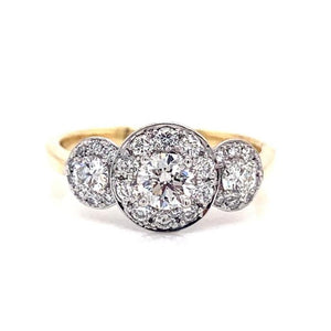 18ct Yellow Gold Triple Round Halo Ring
