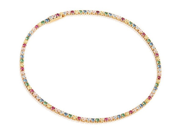 SIF JAKOBS BRACELET ELLERA - 18K GOLD PLATED WITH MULTICOLOURED ZIRCONIA