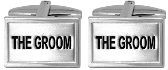 The Groom Rhodium Plated Cufflinks